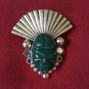 ALPACA STERLING SILVER Carved Green Mask Brooch